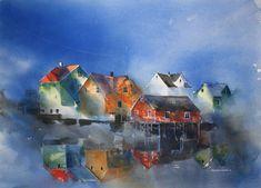Hilde Eilertsen Sletvold - Hole Artcenter as Watercolor Artists, Watercolor Landscape, Watercolour Painting, Painting & Drawing, Watercolors, Art Pictures, Photos, Building Art, Painting Techniques