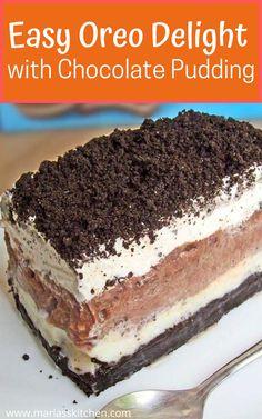 Icebox Cake Recipes, Dump Cake Recipes, Fun Baking Recipes, Easy Recipes, Oreo Icebox Cake, Oreo Delight, Chocolate Delight, Chocolate Pudding Desserts, Oreo Pudding Dessert