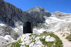 Bivouac hut beneath Grintovec in Slovenia. Grintovec is the highest mountain in the Kamnik-Savinja Alps. The hut provides shelter for 8 people and is located at 6903 ft / 2104 m elevation.