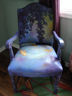 Handpainted koi chair - leather and wood