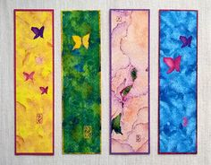 Unique Bookmark, Bookmark with haiku poem, watercolor painting - collage, asian art, art print, green, blue, pink , yellow