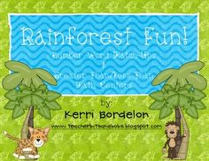 Free!! rainforest graphics! match numbers to number words and work on their greater than/less than skills ... Would be a really cute match game too!!! Love the animal pics!