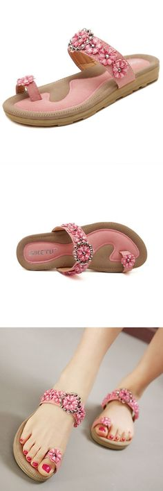 c92d97270132 Bohemian rhinestone flower clip toe sandals slip on beach slippers sandals  2 for 1  e