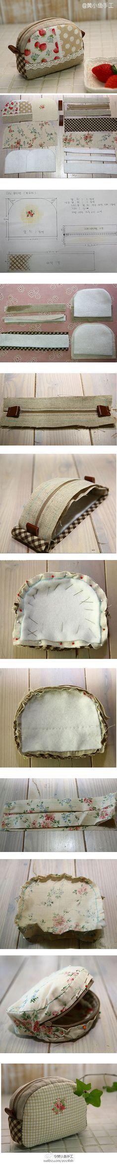 Pouch tutorial, sewing tutorial, makeup bag, sewing bag and lunch bag Sewing Tutorials, Sewing Hacks, Sewing Patterns, Tutorial Sewing, Purse Patterns, Fabric Crafts, Sewing Crafts, Sewing Projects, Pouch Tutorial
