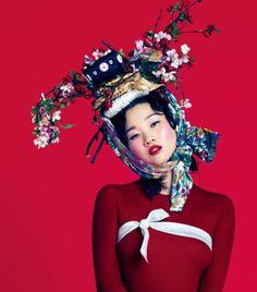 The Vogue Korea Hong Jang Hyun Photoshoot is Floral. . . Model Jang Yoon Ju