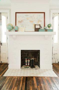 Bradford Project Living Room: Reclaimed Wood Floor, Skinny French Doors, White Living Room // i LOVE the reclaimed wood floor