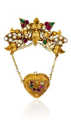 """An antique gold brooch set with rubies, emeralds and half pearls, suspending a """"Regard"""" heart locket, in 15k. English.          Circa:    1830"""