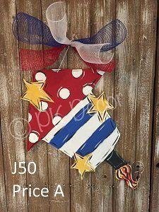 J50 - Firecracker Door Hanger - July 4 Door Hanger - Memorial Day - Patriotic Door & J11 - Flag Star Door Hanger - July 4 Door Decor- Labor Day ...