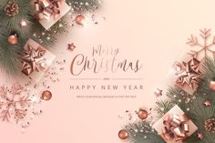 Merry christmas and new year card with r... | Free Vector #Freepik #freevector #christmas #christmas-tree #tree #merry-christmas Merry Christmas Background, Christmas Text, Merry Christmas Greetings, Christmas Tree Cards, Merry Christmas And Happy New Year, Vector Christmas, Elegant Christmas, New Year Greeting Cards, New Year Card