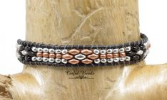 Black Leather Wrap Bracelet - Black, Copper, And Silver Beaded Leather Bracelet - Boho Style Leather Cuff For Women(SW131) by CinfulBeadCreations on Etsy