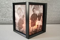 Create personal picture frame luminaries using dollar store supplies and your favorite family photos!