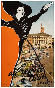 Vintage Italian Turin poster c. Vintage Italian Posters, Poster Vintage, Vintage Travel Posters, Vintage Advertisements, Vintage Ads, Pop Art, Vintage Italy, Poster Pictures, Trieste