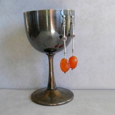 Carnelian and Sterling Silver Earrings Long Elegant by Foret, $68.00