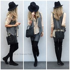 over the knee boots and hat