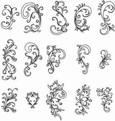 Various flourishes - embroidery pattern.  The link goes only to the page of designs.  No idea where they are from.