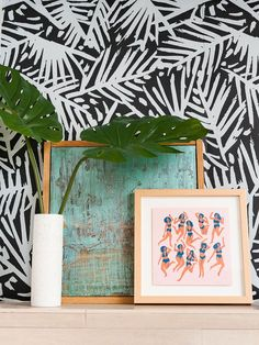 Palm frond wallpaper and quirky artwork for the win