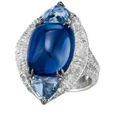 A 15.86 carat sugarloaf Kashmir sapphire ring with diamonds, by Boghossian Jewels. @boghossianjewels #sapphirering #kashmirsapphire #pieceunique #geneva