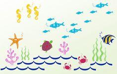 PROMOTION---Ocean Kids Wall Decals - Crab, Tuna Fish, Star Fish, Seaweed, Coral, Sea Horses, Turtle, etc. $124.75, via Etsy.