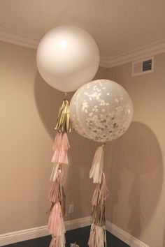 Balloon Tassel // Champagne Blush // Pink, Ivory, Gold, Champagne // 36 inch balloon tissue paper tassel // Wedding, Baby shower, Birthday by LovePrettyDetails on Etsy