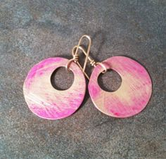 Handmade Brass  Earrings with Pink Patina by YMBlueOriginals, $26.00