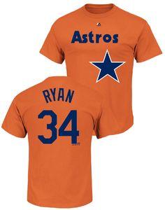 Nolan Ryan Houston Astros Majestic Orange Cooperstown Wordmark Name