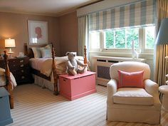 S·B Long Interiors \ Window treatment, cute trunks at the end of the beds