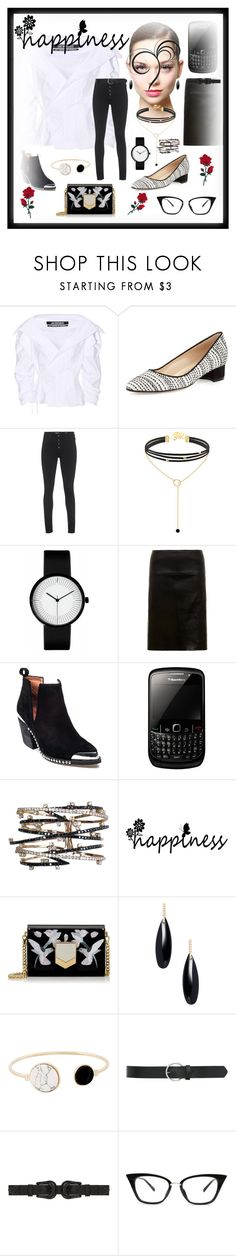 """Happiness"" by bren-johnson ❤ liked on Polyvore featuring Jacquemus, Manolo Blahnik, AG Adriano Goldschmied, MuuBaa, Jeffrey Campbell, Jimmy Choo, Janis Savitt, M&Co and B-Low the Belt"