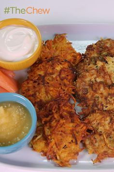 Potato Latke Bar by Michael Symon - Nothing represents the holidays better than this delicious Hanukkah staple! #TheChew