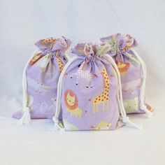 Small ORGANIC Fabric Drawstring Gift Bag - Sweet Safari by Alyssa Thomas of Penguin and Fish for Clothwoks