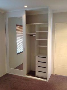 Mirror sliding door wardrobe with compartments