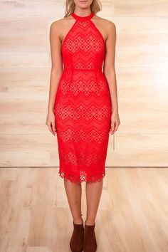 The Aquarius ¾ Dress is made from gorgeous red lace and is cut to fit the body to show off the curves perfectly. It features a high neckline with a cut out back detail with a visible gold zipper. This dress looks great with a killer pair of heels on a girl's night out. The Aquarius ¾ Dress finishes just above the knee with a slight split detail up the back and is fully lined.    Sizes are Australian. AUS 4 = US 1; AUS 6 = US 2; AUS 8 = US 4; AUS 10 = US 6; AUS 12 = US 8; AUS 14 = US 10; AUS…
