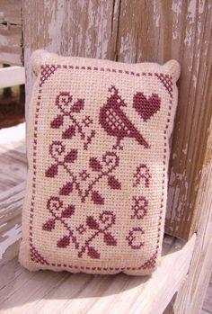 Cross Stitch Primitive Pinkeep with A B C, Vines, Heart & Quail. $16.00, via Etsy.
