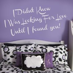 Wall Sticker LOOKING FOR LOVE by Sticky!!! Looking For Love, My Love, I Found You, Love Letters, Wall Stickers, Wall Murals, Me Quotes, Bed Pillows, Pillow Cases