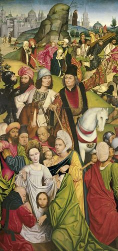 Derick Baegert       Saint Veronica and a Group of Knights      1477-78        Oil on panel.       113 x 97.5 cm       Museo Thyssen-Bornemisza, Madrid      INV. Nr. 23 (1936.6)