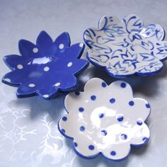 blue pottery dishes   set of 3 / delft blue by maryjudy on Etsy, $26.00