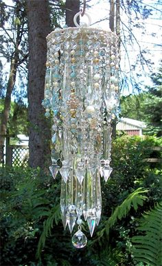 Exquisite Sea Goddess Antique Crystal Wind Chime by sheriscrystals. Crystal Wind Chimes, Glass Wind Chimes, Mobiles, Hanging Crystals, Chandelier Crystals, Chandelier Lighting, Chandeliers, Good Day Sunshine, Outdoor Crafts