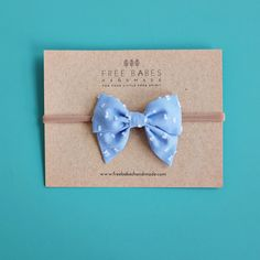 Sky Blue Dotted Swiss Mini Sailor Bows