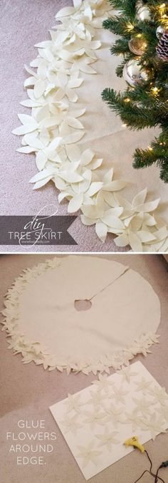 DIY NO SEW Christmas Tree Skirt With Felt Flowers.