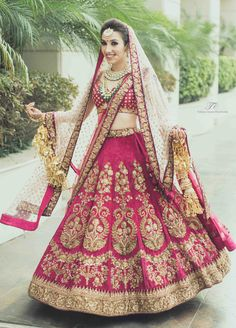 The latest collection of Bridal Lehenga designs online on Happyshappy! Find over 2000 Indian bridal lehengas and save your favourite once. Designer Bridal Lehenga, Pink Bridal Lehenga, Indian Wedding Gowns, Lehenga Wedding, Indian Bridal Outfits, Pink Lehenga, Indian Bridal Lehenga, Indian Bridal Wear, Lehenga Style