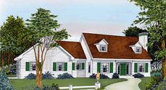 Good smaller home plan...Cape Cod Country Farmhouse House Plan 91828 Elevation