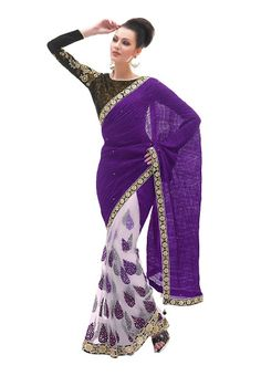 Party Wear Violet Colored Crush Art Silk & Net Saree With Unstitched Blouse Fabric: Crush Art Silk & Net 6125 INR