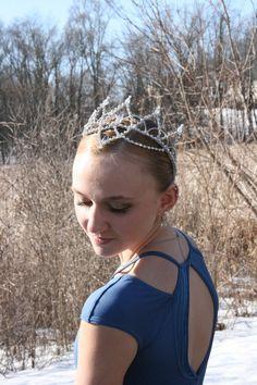 Professional Ballet Headpiece Tiara Ballerina Silver AB Crystal Dance Crown Head Piece Variation
