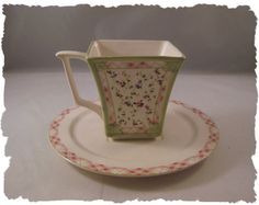 Laura Ashley Garden Trellis Square Coffee Cup & Saucer