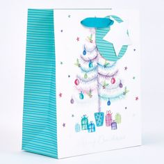 Pastel Christmas Tree Small Gift Bag | Card Factory