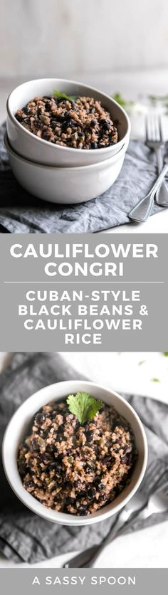 A healthy twist on the popular Cuban-style black beans and rice! A quick and easy weeknight dish made with riced cauliflower, cumin, oregano, and black beans. via @asassyspoon