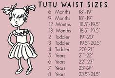 Tutu Waist Size Chart