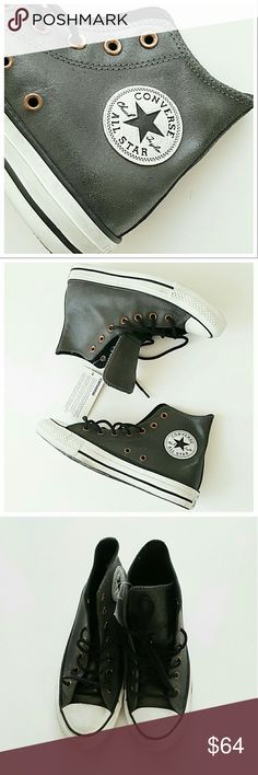 Leather Converse Chuck Taylors- Grey SZ6.5 NWT - NWT  - Converse  - Grey, Black laces - SIZE 6.5 - Genuine Leather, antique finish - Copper grommets Converse Shoes