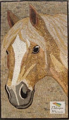 AN023 Marble Mosaic Horse Stone Tile