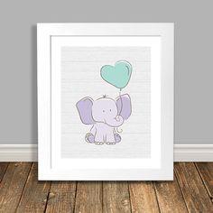 Elephant Nursery Art Elephant Print Purple by HappyHippoArts