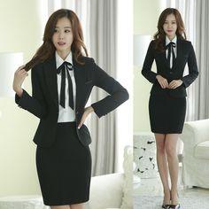 Cheap Otoño chaqueta Formal de mujer trajes con falda y Top establece  señora trajes del negocio ca44a6a7dc9